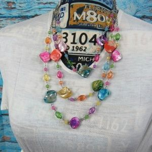 Jewelry - Three String Chain With Colorful Beads